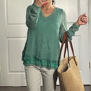 Knitted Knotted Green Alpaca Blend Thin Sweater S